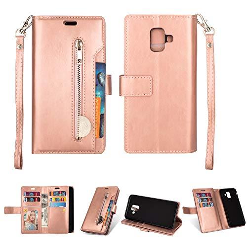 Artfeel Hülle für Samsung Galaxy A6 2018 Flip Brieftasche Hülle Roségold mit 9 Kartenfächer,Premium Leder Magnetisch Stand Handyhülle mit Reißverschluss Tasche & Handschlaufe Schutzhülle