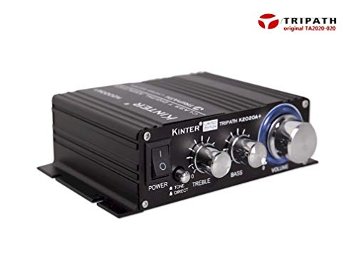 Kinter K2020A+ Limited Edition Original Tripath TA2020-020 Class-T Hi-Fi Audio Mini Amplifier with 12V 5A Power Supply Black