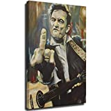 Hello Johnny Cash Flipping The Bird Poster, dekoratives