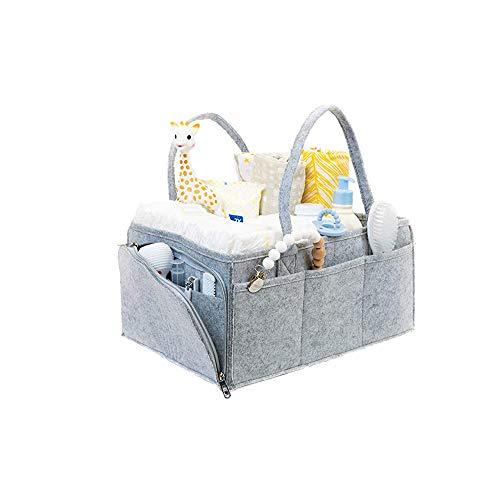 Cesta para Accesorios de Bebé, Canastilla de Bebé, Pañalera Portátil con Compartimentos Ajustables, para Hogar, Coche, Viaje, Gris