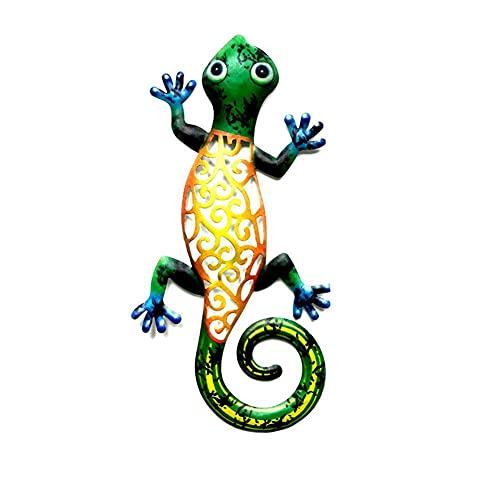 Kaikso-In Adornos de hierro forjado, creativo hierro forjado Gecko manualidades adornos hogar insectos decoración al aire libre jardín jardín valla patio decoración