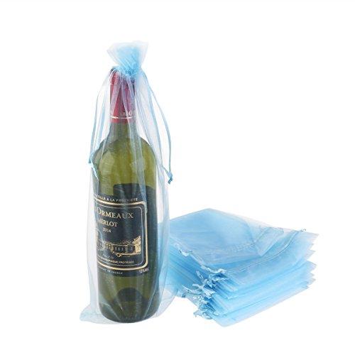 Luoem - Bolsa para botella de vino, bolsas de regalo, organza, azul, 37x 15cm, 20unidades