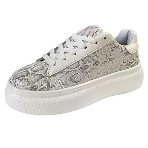 Ladies Fashion Canvas Sports Shoe,Serpentine Prints Hollow Breathable Platform Lace up Wild Casual Shoes (White, 8.5)