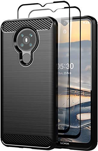 Teayoha Hülle für Nokia 5.3 Hülle, mit Bildschirmschutzfolie aus gehärtetem Glas [2 Stück], Kratzfest gegen Kohlefaser, stoßdämpfende weiche TPU Zeichnung Hülle Handyabdeckung - Schwarz