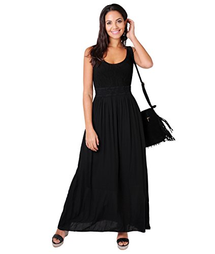 KRISP Damen Bodenlanges Kleid mit Lochmuster, Schwarz, M/L, 7091-BLK-ML