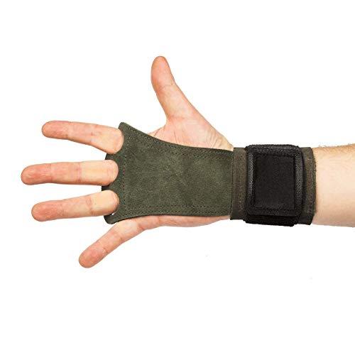 Crossfit handschoenen Premium dubbele dikte leer met polsbeschermer voor mannen en vrouwen, geschikt voor Crossfit, gewichtheffen, Calisthenics, Gymnastiek, Workout Fitness, A&M Fitness, bruin Maat L