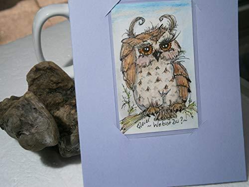Eulenbild mit Eule Unikat handgemalt laminiert auf Klappkarte abnehmbar Lesezeichen Geschenk Geburtstagskarte Eulensammler