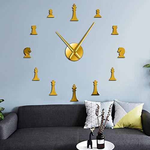 N / A Bricolaje Piezas Reloj de Pared Ajedrez Rey Caballero Hipoteca Salón Torre de Bricolaje Reloj Grande Pegatina Pieza de ajedrez Regalos Jugador de ajedrez Reloj
