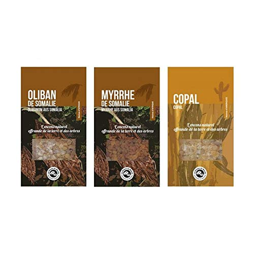 3 résines d'encens à brûler - Oliban, Myrrhe, Copal