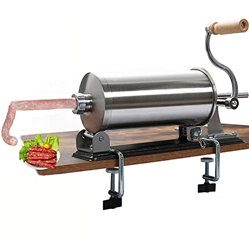 uyoyous Sausage Stuffer 6LBS /3L Stainless Steel Sausage Maker for 2-inch Table Professiona Sausage Meat Stuffer Maker With 4 Size Stuffing Tubes for Commercial Home Kitchen