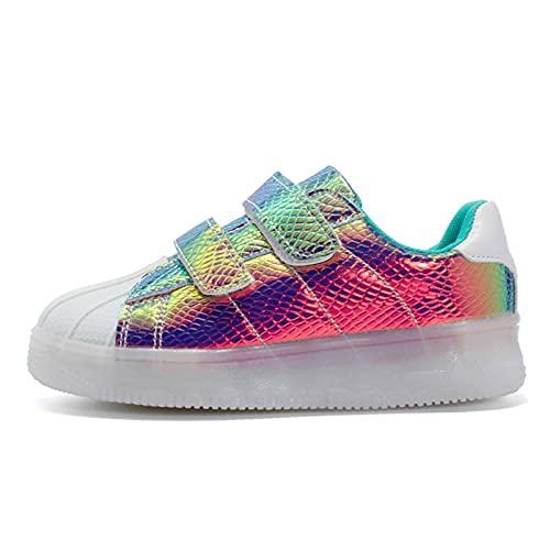 N\C Zapatos luminosos LED bajos adecuados para niñas y niños transpirables USB recargable intermitente zapatos LED deportivos con control remoto niños y adolescentes unisex