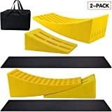 Magic4U Camper Leveler 2 Pack - RV Caravan Motorhome Leveling Ramp Blocks, Includes Two Curved Levelers, Two Chocks, and Two Rubber Grip Mats, Heavy Duty