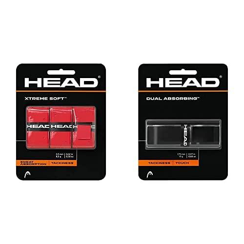 Head Xtremesoft Pack De Overgrip, Unisex Adulto, Red, S + Dual Absorbing Grip, Unisex, Negro, Talla Única