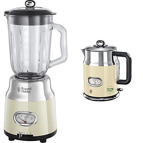 Russell Hobbs Glas-Standmixer Retro creme, Retro-Anzeige, 1.5l Glasbehälter & Wasserkocher, Retro creme, 1,7l, 2400W, Schnellkochfunktion, Wassertemperaturanzeige im Retrodesign, Vintage Teekocher
