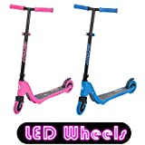 iScoot© X10 Neon Pink Light Weight Kick Scooter with Light Up LED Wheels T-Bar Bobbi Board for Boys / Girls / Children / Kids - Ages 5-12