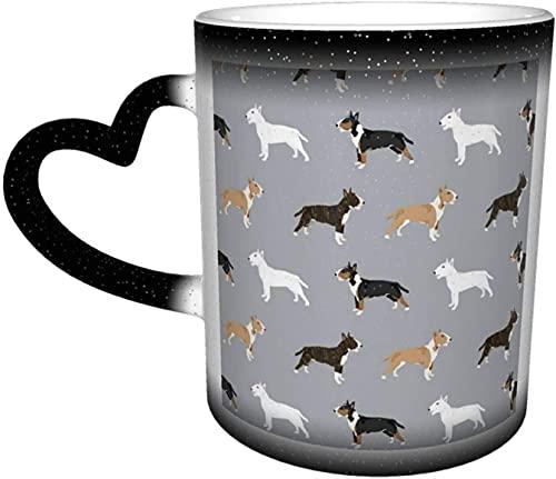 Tazas de café Bull Terrier Variedad Abrigo Colores Raza de perro Gris Sensible al calor Taza que cambia de color Taza de cerámica en el cielo Regalos personalizados para amantes de