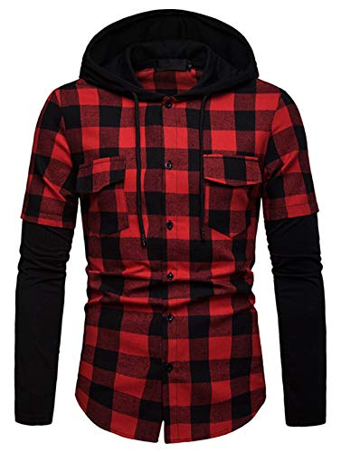 WHATLEES Men's Casual Hoodie Plaid Slim Fit Flannel Shirt BA0246-Red-S