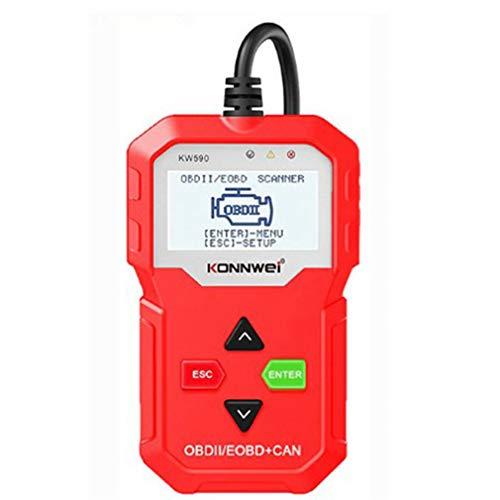 bansd KW590 OBDII/EOBD Escáner Lector de código de automóvil Herramienta de escaneo de diagnóstico de automóvil Rojo