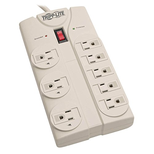 Tripp Lite 8 Outlet Surge Protector Power Strip, 8ft Cord Right Angle Plug, LIFETIME INSURANCE & $75K INSURANCE (TLP808) light gray