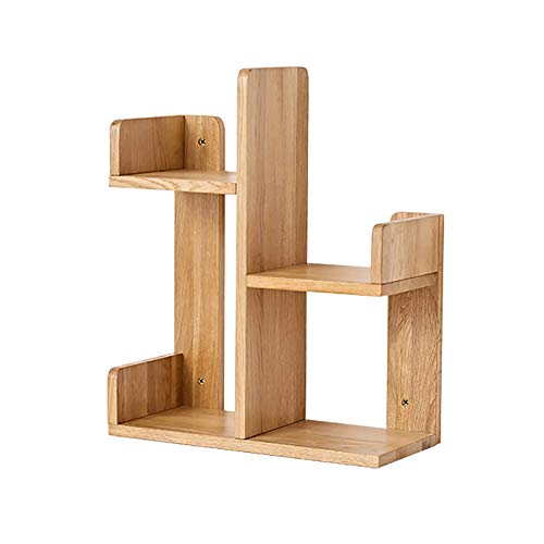 Desktop Shelf, Nordic Simple Storage Rack, Wall Bookshelf, FAS Level Oak Home Decoration Display Rack, kantoorbenodigdheden Opslag Shelf (Color : Wood color)