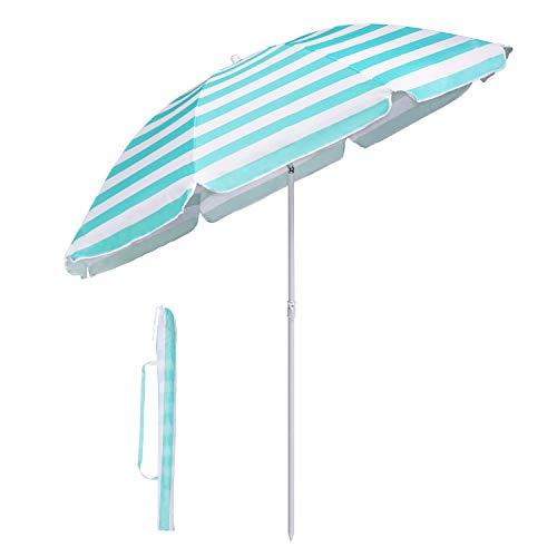 Sekey Sonnenschirm 160 cm Marktschirm Gartenschirm Terrassenschirm Rund Sonnenschutz UV20+ (Turquoise Streifen)