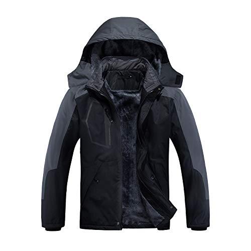 INVACHI Men's Waterproof Ski Jacket Warm Winter Snow Coat Mountain Windbreaker Hooded Raincoat Snowboarding Jackets (Black 02, XX-Large)