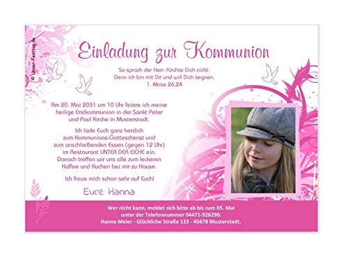Unser-Festtag Schöne Kringel für Mädchen Kommunioneinladungen für Mädchen schön edel - mit FOTO (oder ohne) - Wunschtext - 1 Karte - 17 x 12 cm