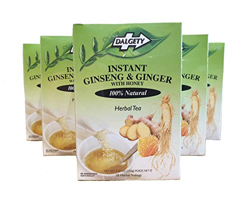 Dalgety Instant Ginseng & Ginger Herbal Tea 108 Tea Bags with 100% Natural Herbs Maximum Strength Pack of 6 Teas ( 6x40g )