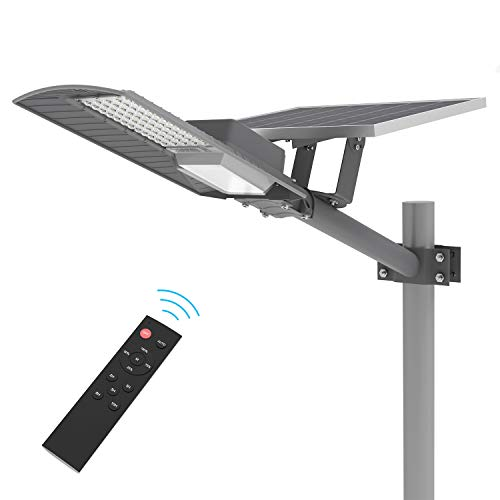 TENKOO LED Outdoor Solar Street Lights, IP65 Outdoor Solar Flood Light 60 LEDs 6000 Lumens with Remote Control, Light Control, Dusk to Dawn Security Street Lights for Yard Garden Pathway