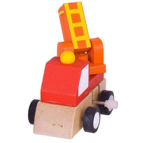 Bigjigs Toys Véhicule à remonter (Camion de Pompiers)