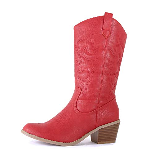 West Blvd - Womens Miami Cowboy Western Boots (8.5 M US, Red Pu)