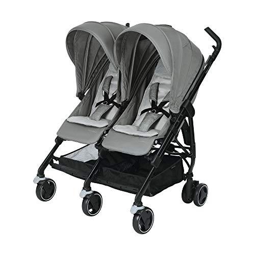 Bébé Confort Dana For 2 Passeggino Gemellare fratellare Compatto, Reversibile Reclinabile, Sedute Affiancate, Grigio (Nomad Grey)