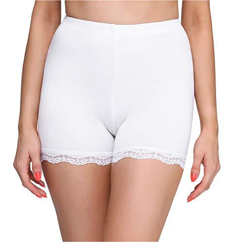 Merry Style Damen Shorts Radlerhose Unterhose Hotpants Kurze Hose Boxershorts aus Viskose MS10-294 (Weiß, S)
