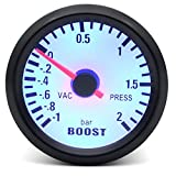 WangQianNan Alta precisión Boost/Agua Temp/Tempera DE Aceite/Prensa DE Aceite/TÁMITO/TACÓMETRO RPM Gauge DE RPM 52MM Analog LED Caja Negra con LED Azul Fácil de Instalar (Color : Boost Gauge Bar)