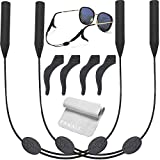 PAWALT 2 Packs Glasses Straps Adjustable Eyewear Glasses Retainers Sports Waterproof 4 Anti-Slip Hooks No Tail for Kids/Adults 14 inches (with Suede Cloth)