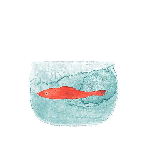 WSNDGWS Minimalista Moderno Pequeño Fresco de Dibujos Animados Acuarela Pescado Pintura sin Marco Lienzo Pintura Decorativa Sin Marco de Imagen A1 20x30 cm