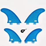 Eisbach Riders Surfboard FCS Honeycomb Quad Fin Set - Juego de Aletas de Fibra de Vidrio para Tabla de Surf y Sup, Azul, G5 - Medium