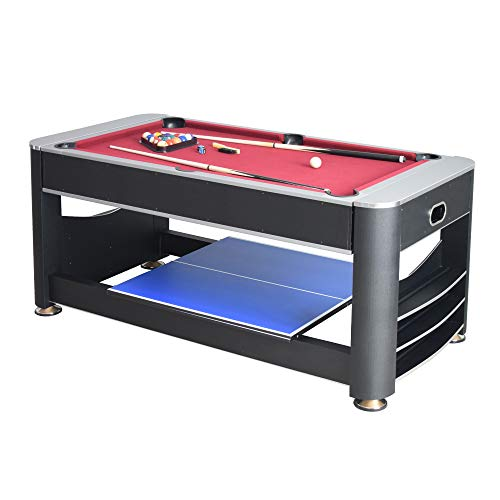 Triple Threat 6-ft 3-in-1 Multi Game Table with Billiards, Air Hockey, and Table Tennis