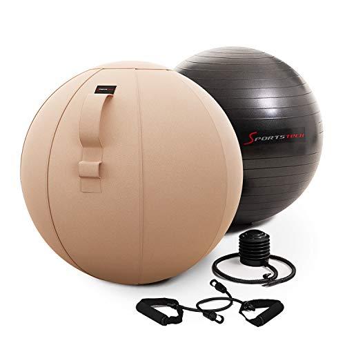 Sportstech Pelota de Ejercicio 65cm - Hogar y Oficina | Pelota de Pilates, Yoga, Embarazo y Gimnasio en Casa | Balón de Ejercicio /Silla de Equilibrio, Ejercitador Suelo Pélvico + Accesorios | YOBA100