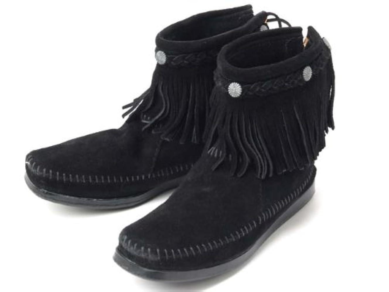 残高野生考古学的な(ミネトンカ) MINNETONKA ハイトップ バックジップ ショートブーツ Hi Top Back Zip Short Boot 299(BLACK) 8(25cm) [並行輸入品]