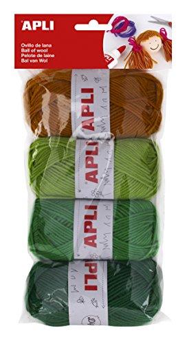 APLI 14090-Ovillos de lana tonos verdes 4 u.