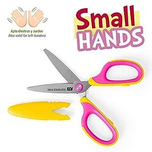Tijeras SDI Small Hands para Diestros y Zurdos con Cubierta Protectora Personalizable, Puntas Redondas y Mango de…