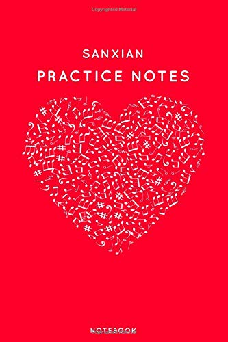 Sanxian Practice Notes: Red Heart Shaped Musical Notes Dancing Notebook for Serious Dance Lovers - 6