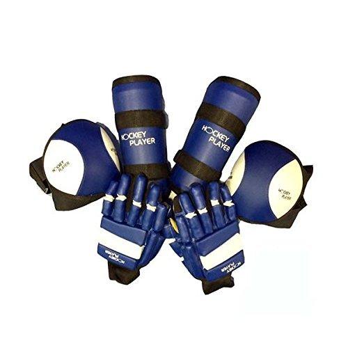 HOCKEYPLAYER Set Compuesto por un par de Guantes, un par de Rodilleras y un par de Espinilleras de Jugador de Hockey sobre Patines de Ruedas en Paralelo Fabricado en Vinilo Modelo Eco (Azul, XXS)
