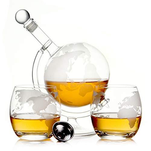 Whisky Karaffe 750 ml Mundgeblasen GLOBUS und 2 Gläser Set je 350ml Glas-Karaffe Welt Dekanter Flasche 0,75 Liter l Glasflasche Likör Schnaps Wein Dekantierer (Globus Glas Set)