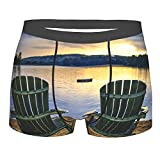 Men's Underwear,Seaside Two Wooden Chairs On Relaxing Lakeside At Sunset Algonquin Provincial Park Canada,Boxer Briefs Breathable Comfort Underpants Size XXL