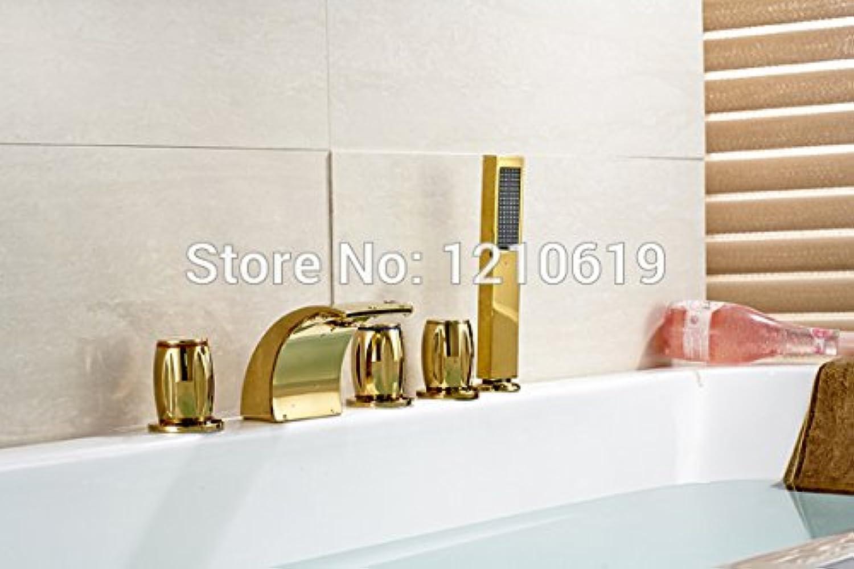Maifeini  Neu Uns G Moderne 5-Pcs Weit Verbreitete Bad Badewanne Armatur Dusche Wasserhahn Golden Poliert Drei Griffe Deck Montiert