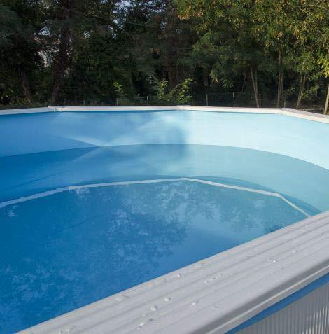 Liner Piscine Hors Sol - Diamètre 350-360 cm - Hauteur 120-132cm - Montage Overlap - Coloris Bleu