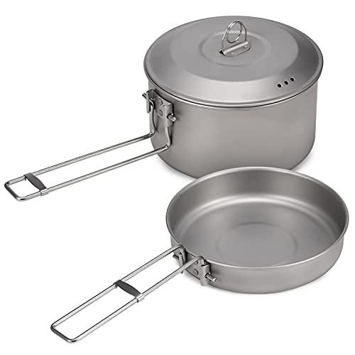 BCSIX Camping Cookware Pot Fry Pan Set con Tapa y manijas Plegables Camping al Aire Libre Senderismo Picnic (Color : Titanium)
