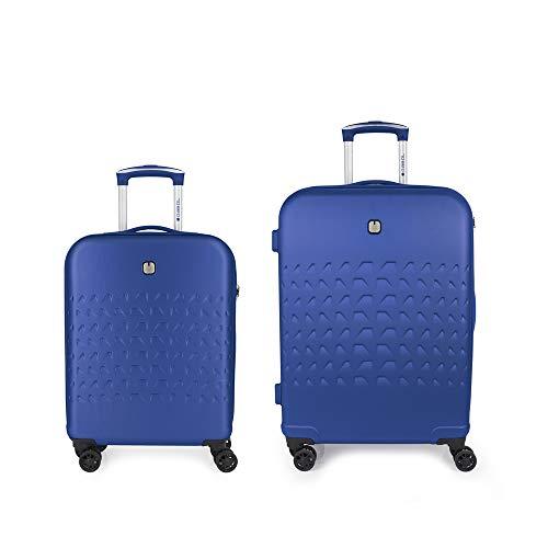 Gabol - Duke | Juego de Maletas de Viaje Rigidas de Color Azul con Trolley de Cabina y Trolley Mediano